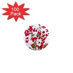 Red Petals 1  Mini Button Magnet (100 Pack) by dflcprints