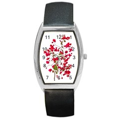 Red Petals Tonneau Leather Watch by dflcprints