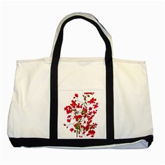 Red Petals Two Toned Tote Bag by dflcprints