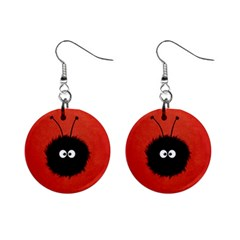 Red Cute Dazzled Bug Mini Button Earrings by CreaturesStore