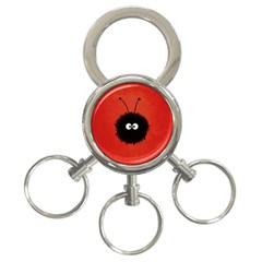 Red Cute Dazzled Bug 3 Ring Key Chain