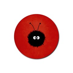 Red Cute Dazzled Bug Drink Coaster (round) by CreaturesStore