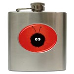 Red Cute Dazzled Bug Hip Flask Front