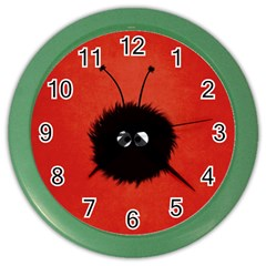 Red Cute Dazzled Bug Wall Clock (color)