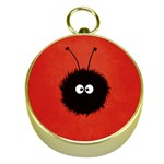 Red Cute Dazzled Bug Gold Compass Front