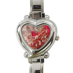 Decorative Flowers Collage Heart Italian Charm Watch  by dflcprints