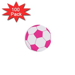 Soccer Ball Pink 1  Mini Button (100 Pack) by Designsbyalex