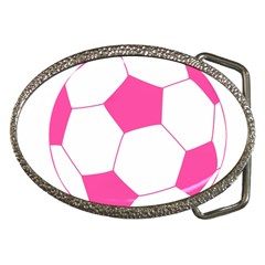 Soccer Ball Pink Belt Buckle (oval)