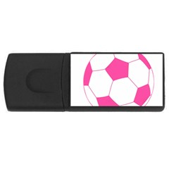 Soccer Ball Pink 4gb Usb Flash Drive (rectangle) by Designsbyalex