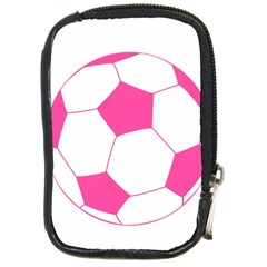 Soccer Ball Pink Compact Camera Leather Case by Designsbyalex