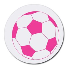 Soccer Ball Pink 8  Mouse Pad (round) by Designsbyalex
