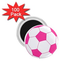 Soccer Ball Pink 1 75  Button Magnet (100 Pack) by Designsbyalex