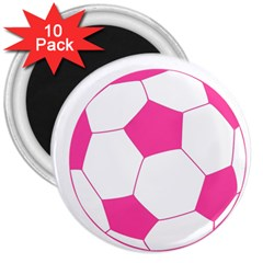 Soccer Ball Pink 3  Button Magnet (10 Pack) by Designsbyalex