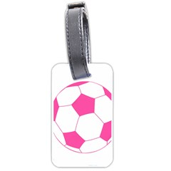 Soccer Ball Pink Luggage Tag (one Side) by Designsbyalex