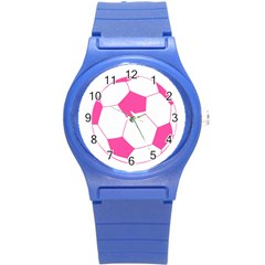 Soccer Ball Pink Plastic Sport Watch (small) by Designsbyalex