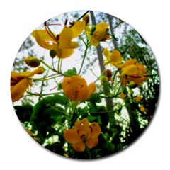 Yellow Flowers 8  Mouse Pad (round) by SaraThePixelPixie