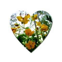 Yellow Flowers Magnet (heart) by SaraThePixelPixie