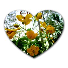 Yellow Flowers Mouse Pad (heart) by SaraThePixelPixie