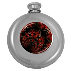Phenomenon, Orange Gold Cosmic Explosion Hip Flask (round) by DianeClancy