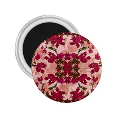 Retro Vintage Floral Motif 2 25  Button Magnet by dflcprints