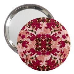 Retro Vintage Floral Motif 3  Handbag Mirror by dflcprints