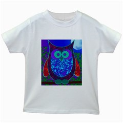 Moon Owl Kids T Shirt (white) by SaraThePixelPixie