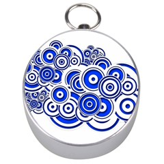 Trippy Blue Swirls Silver Compass by StuffOrSomething