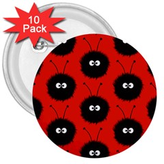 Red Cute Dazzled Bug Pattern 3  Button (10 Pack) by CreaturesStore