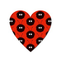 Red Cute Dazzled Bug Pattern Magnet (heart) by CreaturesStore