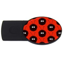 Red Cute Dazzled Bug Pattern 2gb Usb Flash Drive (oval) by CreaturesStore