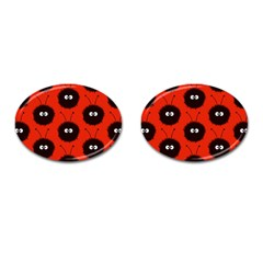 Red Cute Dazzled Bug Pattern Cufflinks (oval) by CreaturesStore