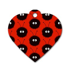 Red Cute Dazzled Bug Pattern Dog Tag Heart (one Sided)  by CreaturesStore
