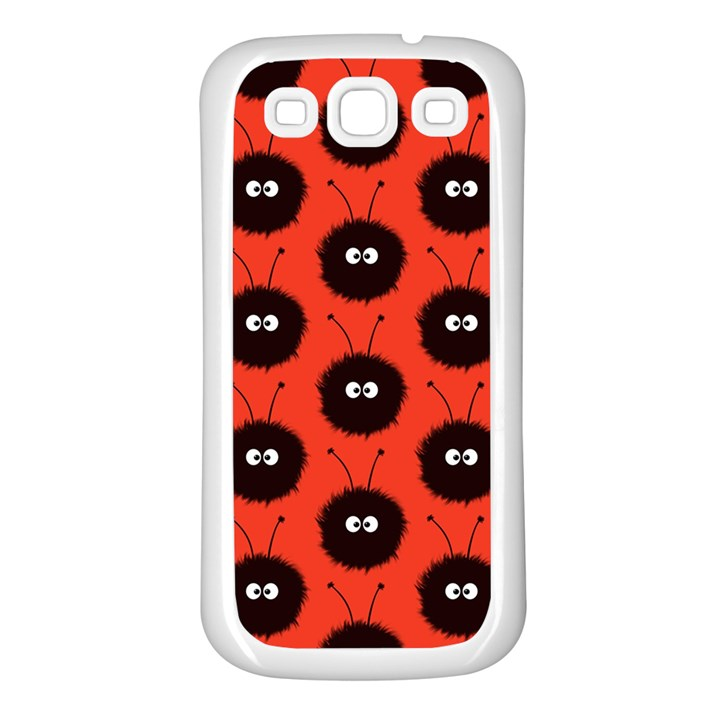 Red Cute Dazzled Bug Pattern Samsung Galaxy S3 Back Case (White)
