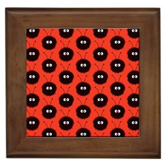 Red Cute Dazzled Bug Pattern Framed Ceramic Tile by CreaturesStore