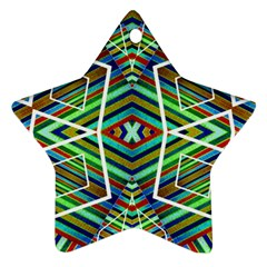 Colorful Geometric Abstract Pattern Star Ornament by dflcprints