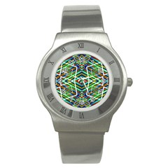 Colorful Geometric Abstract Pattern Stainless Steel Watch (slim) by dflcprints