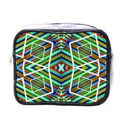 Colorful Geometric Abstract Pattern Mini Travel Toiletry Bag (one Side) by dflcprints