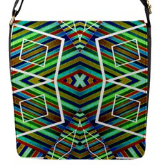 Colorful Geometric Abstract Pattern Flap Closure Messenger Bag (small) by dflcprints