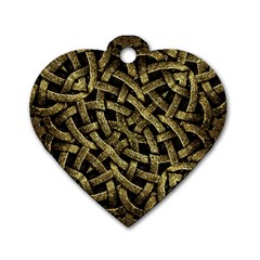 Ancient Arabesque Stone Ornament Dog Tag Heart (one Sided)  by dflcprints