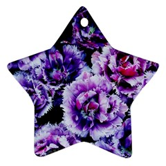 Purple Wildflowers Of Hope Star Ornament by FunWithFibro