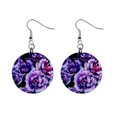 Purple Wildflowers Of Hope Mini Button Earrings by FunWithFibro