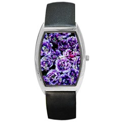 Purple Wildflowers Of Hope Tonneau Leather Watch by FunWithFibro
