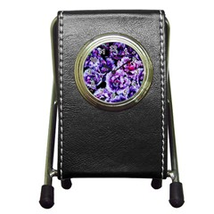 Purple Wildflowers Of Hope Stationery Holder Clock by FunWithFibro