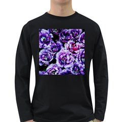 Purple Wildflowers Of Hope Men s Long Sleeve T Shirt (dark Colored) by FunWithFibro