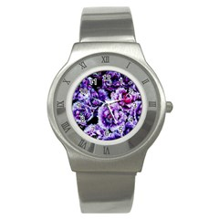 Purple Wildflowers Of Hope Stainless Steel Watch (slim) by FunWithFibro
