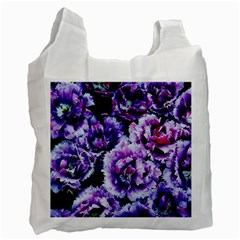 Purple Wildflowers Of Hope White Reusable Bag (two Sides) by FunWithFibro