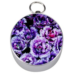 Purple Wildflowers Of Hope Silver Compass by FunWithFibro