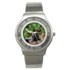 Majestic Moose Stainless Steel Watch (slim) by StuffOrSomething