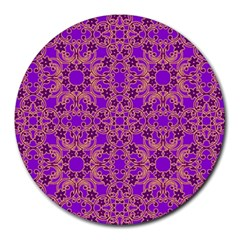 Purple Moroccan Pattern 8  Mouse Pad (round) by SaraThePixelPixie