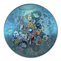 Led Zeppelin Iii Digital Art 8  Mouse Pad (round) by SaraThePixelPixie
